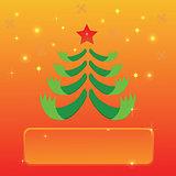 greeting with Christmas tree
