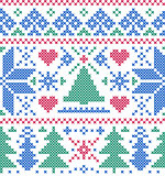 pattern with  trees and snowflakes