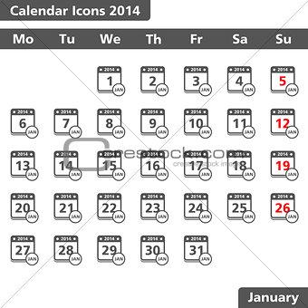 Calendar icons, January 2014