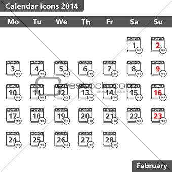 Calendar icons, February 2014