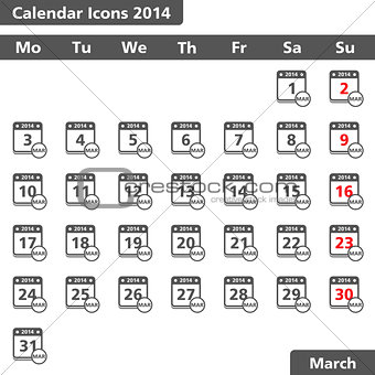 Calendar icons, March 2014