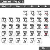 Calendar icons, May 2014