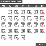 Calendar icons, July 2014