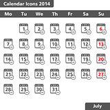 Calendar icons, July 2014