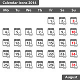 Calendar icons, August 2014