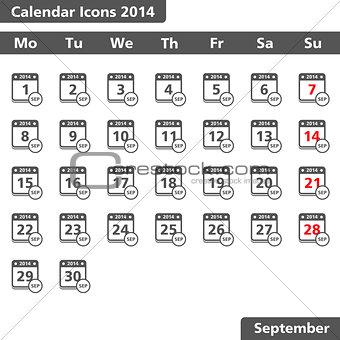 Calendar icons, September 2014