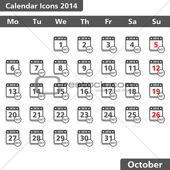 Calendar icons, October 2014