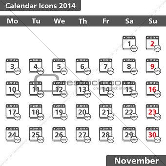 Calendar icons, November 2014