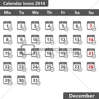 Calendar icons, December 2014