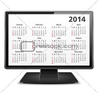 2014 Calendar in Computer Monitor