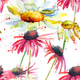 Watercolor Summer seamless pattern