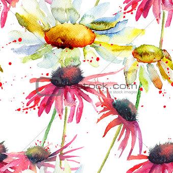 Watercolor Summer seamless pattern