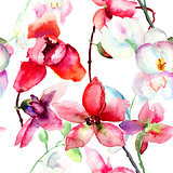 Seamless pattern with Beautiful orchid