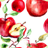 Stylized watercolor apple illustration