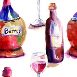 Seamlss wallpaper with Bottles