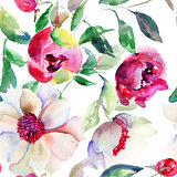 Seamless pattern Spring colorful flowers