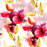 Seamless pattern with Pink orchids flowers