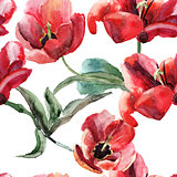Seamless wallpaper with Beautiful Tulips flowers