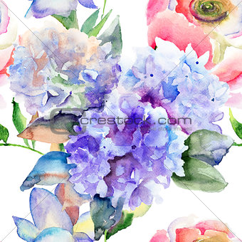 Beautiful Hydrangea blue flowers