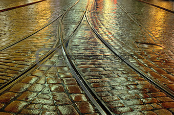 old stone pavement and the tram rails in Helsinki, Finland