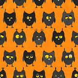 Halloween owl pattern. Seamless background.