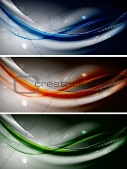 Abstract colourful waves banners. Vector design