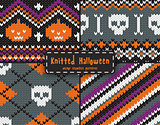 Set of seamless knitted patterns for Halloween design.