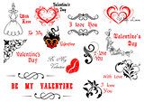Valentine's Day calligraphic and decorative elements