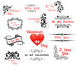 Love and Valentine' Day calligraphic headers