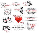 Love and Valentine' Day calligraphic headers