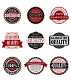 Premium quality and guarantee labels set