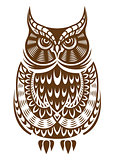 Brown owl with decorative ornament