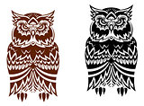 Tribal owl with decorative ornament