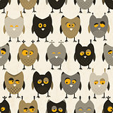 Seamless pattern with funny owls.