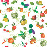 Vegetables and fruits vector seamless pattern