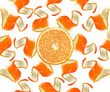 Orange peel and slice