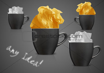 Crumpled papers and coffee