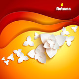 Abstract paper flowers. Autumn background.