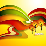 Abstract autumn landscape. Paper design background.