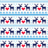 Nordic seamless pattern with deer and hearts