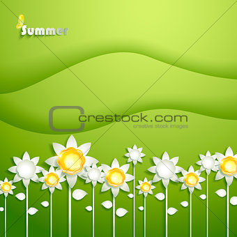 Abstract summer background with paper sunflowers
