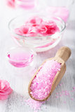 pink flower salt for spa