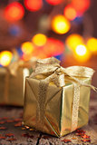 golden christmas gifts and decoration