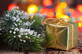 christmas gifts and decoration over blurred background