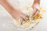 man hands kneading a dough