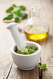 pesto sauce in mortar