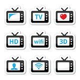 TV set, 3d, HD vector icons set