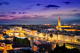 Scenic night view of Florence with Ponte Vechio and Palace