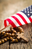 rosary beads with american flag