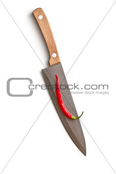 knife with chili pepper